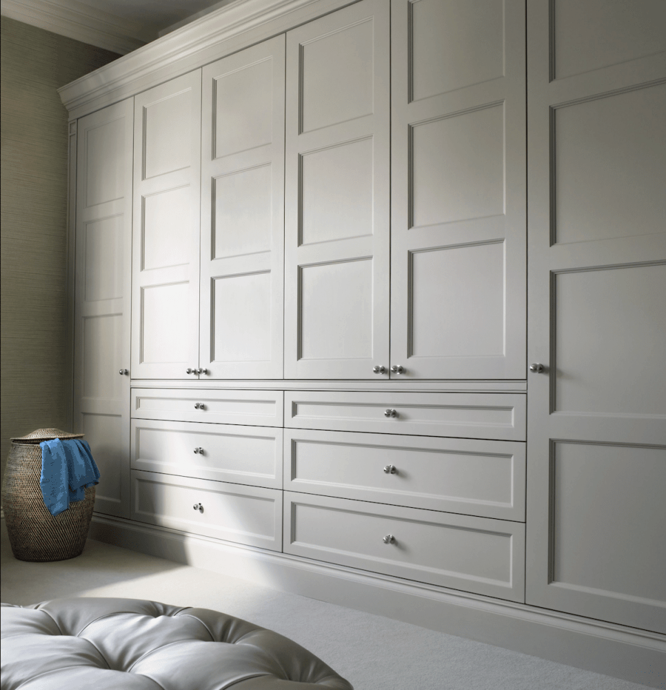 Sheffield joiner beautiful bespoke fitted wardrobes sheffield panel doors painted grey dark metal knobs