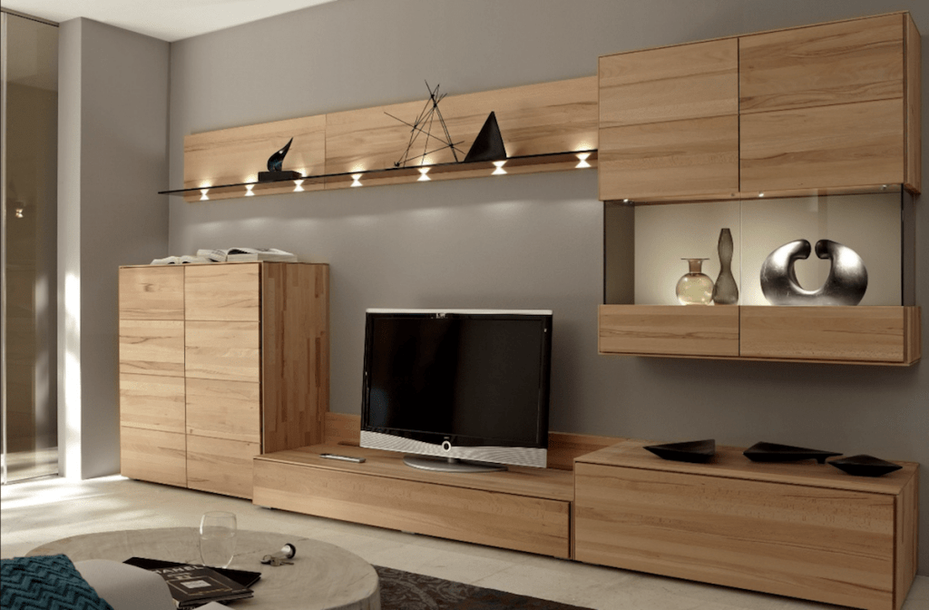 sheffield joiner bespoke fitted interiors lounge wall and base units cupboards walnut finsh