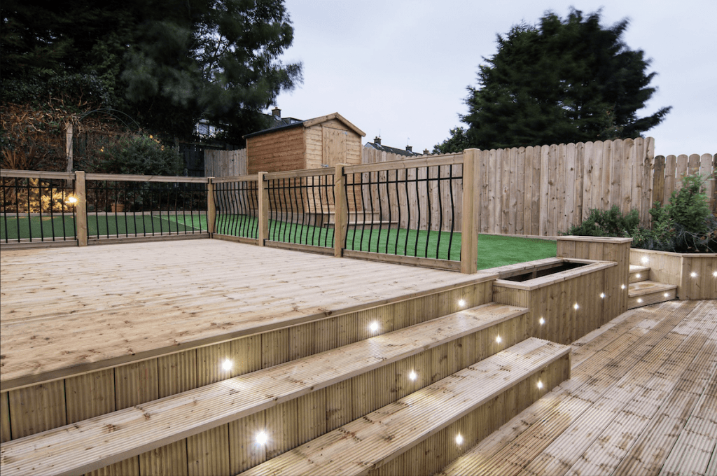 garden decking installers sheffield superb hardwood decks with lighting