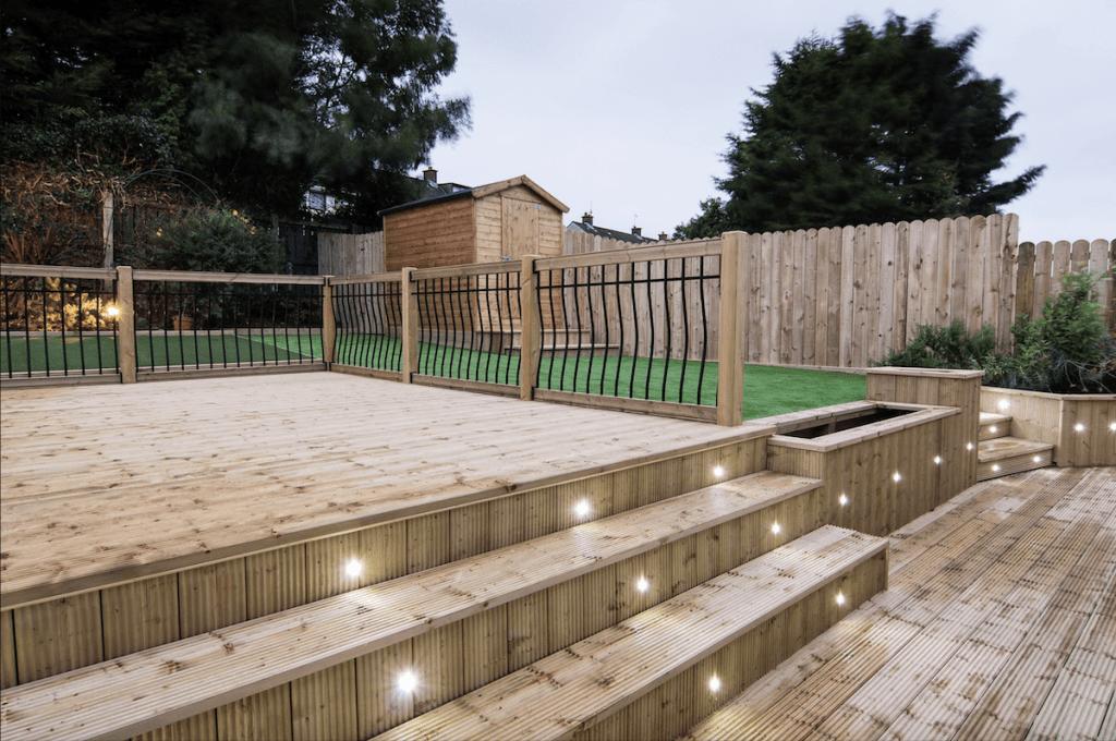 garden decking installers sheffield superb hardwood decks with lighting