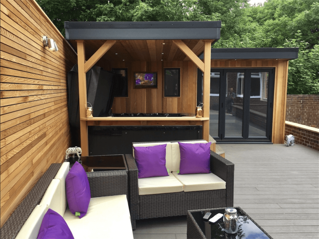 garden decking installers Sheffield outside lounge area