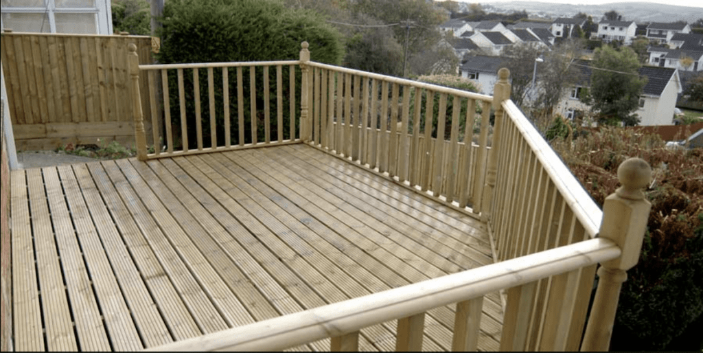 garden decking installers sheffield raised decked platform with view handrails and spindles