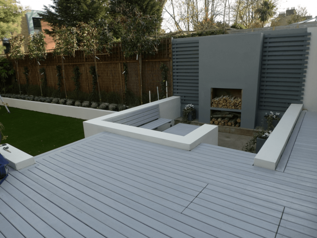 garden decking installers Sheffield composite decking in grey finish sunken seated area